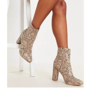 PrettyLittleThing: Beige Faux Snake Ankle Boots